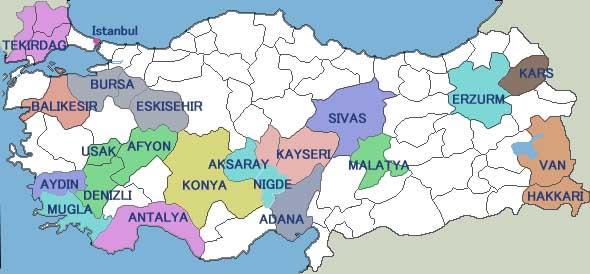アナトリアの地図